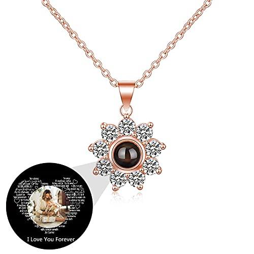 Collar Personalizado Plata de Ley Colgante Flor de Sol 100 Idiomas Collar Personalizado Foto Amor Recuerdo para Mamá(Color oro rosa 14)