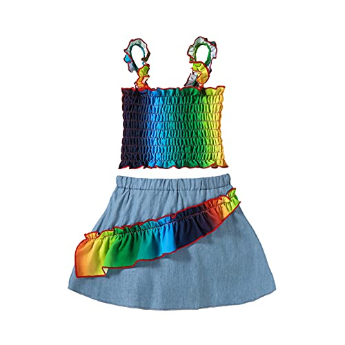 Toddler Baby Girl Sleeveless Elastic Suspended Colorful Tops+Denim Skirts Summer 2Pcs Outfits Dress