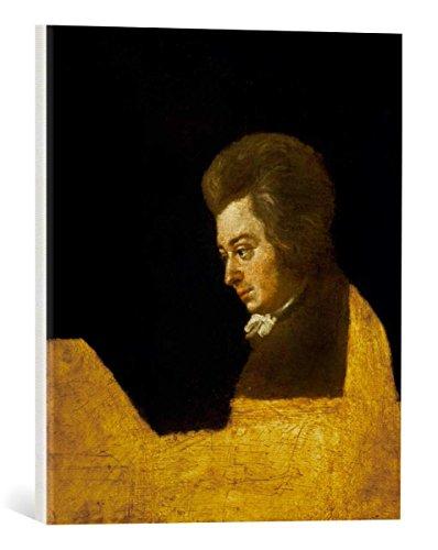 Kunst für Alle Reproduction sur Toile: Wolfgang Amadeus Mozart Mozart am Klavier - Impression d'art de Haute qualité, Toile sur châssis, Tableau prêt à susprendre, 40x45 cm