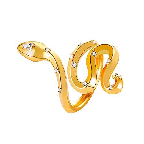 Hunpta Snake Ring Jewelry Retro Open Ring Adjustable Ring (Gold)