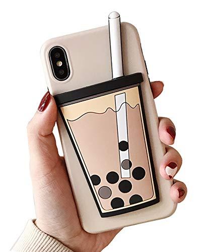 UnnFiko 3D Cartoon Hülle kompatibel mit iPhone 7 Plus/iPhone 8 Plus, Super Cute Pig Weiche Silikon Gummi Bumper Cover Cool Fun Schutzhülle, iPhone 7 Plus / 8 Plus, Bubble Tea