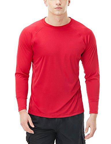 TSLA Men's Rashguard Swim Shirts, UPF 50+ Loose-Fit Long Sleeve Shirts, Cool Running Workout SPF/UV Tee Shirts, Basic Sun Block(mss03) - Red, Small