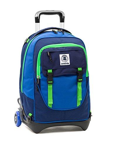 TROLLEY INVICTA - PLUG - Verde Blue - Zaino SGANCIABILE e LAVABILE - Scuola e viaggio 32 LT