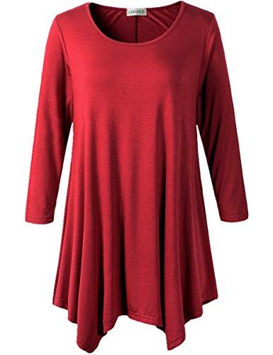 LARACE Women Plus Size 3/4 Sleeve Tunic Tops Loose Basic Shirt (L, Wine Red) …