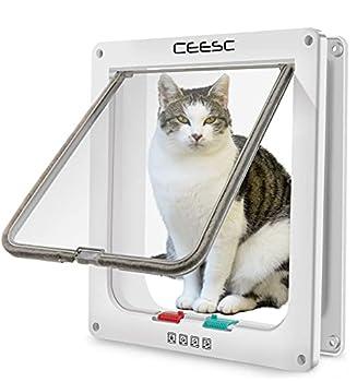 CEESC Grande chatière (Taille extérieure 28cm x 24.9cm), Verrouillage à 4 Voies Chatière pour Chats et Petits Chiens de circonférence <63cm, Facile à Installer et à Utiliser