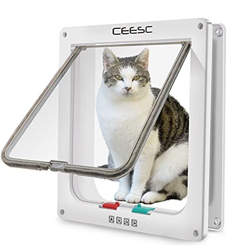 CEESC Katzenklappe für Katzen & kleine Hunde (Außengröße 28 x 24,9 cm), 4-Wege-Verriegelung Extra große Katzentür für Innen- und Außentüren, wetterfeste Katzentür für Haustiere mit einem Umfang <63 cm