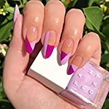 Evazen Glossy Press on Nails Almond False Purple Nails Jump Color Fake Nails French Personality Artificial Daily Nail for Women and Girls(Pack of 24)