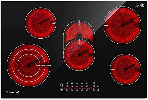 Piano cottura in vetroceramica AMZCHEF piano cottura vetroceramica 5 fuochi con tripla e zona girarrosto, 9 gradini, touch control, 7295W, funzione timer, spegnimento automatico, Blocco di sicurezza