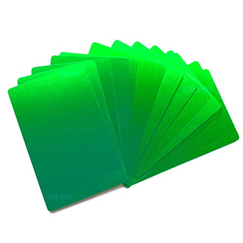 Green Aluminum Card Blanks | Laser Engraving Metal Business Cards | Sheet Metal Square Plaques - By Malayan (50 Cards)