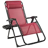 Goplus Zero Gravity Chair, 500-lb Capacity Oversized Recliner with Cup Holder, Breathable Fabric, Detachable Headrest, Heavy Duty Folding Chaise for Pool, Patio, Yard (Wine)
