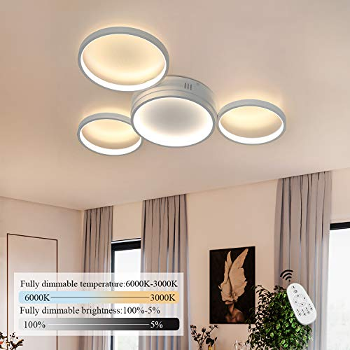 ZMH Deckenlampe LED dimmbar mit Fernbedienung Deckenleuchte 52w 61.5cm moderne Wohnzimmerlampe weiße Deckenbeleuchtung für Schlafzimmer Küche Esszimmer Wohnzimmer Arbeitszimmer Flur Balkon