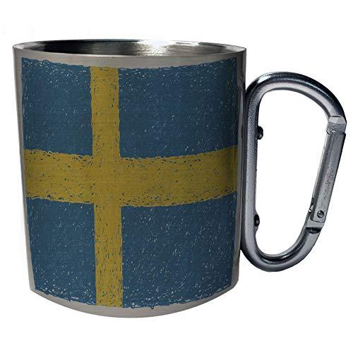 Neue Flagge von Schweden Art Edelstahl Karabiner Reisebecher 11oz Becher Tasse i255c