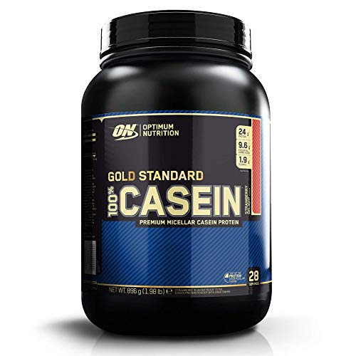Optimum Nutrition Gold Standard Casein Slow Digesting Protein Powder Shake with Glutamine and Amino Acids, Strawberry Delight, 28 Servings, 900 g