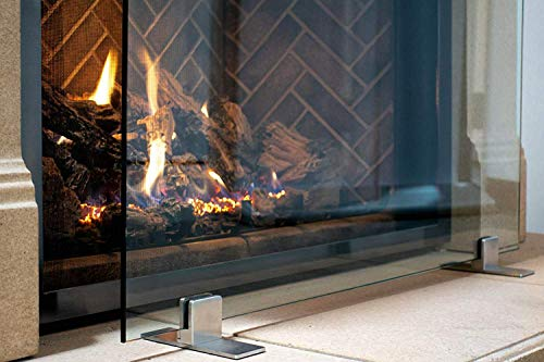 Manhattan Modern Free Standing Glass Fireplace Screen (Clear, Stainless Steel Feet) Medium (39' x 29') Decorative Screen Made in USA
