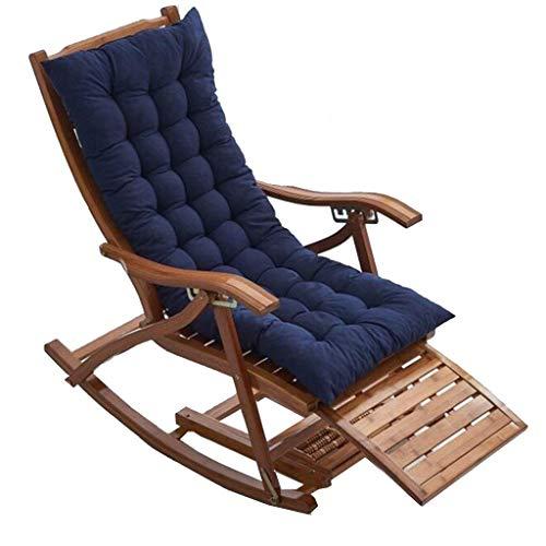 Transat Jardin Plié Bamboo Recliner, 5 vitesses réglable Rocking Chair, avec du coton Pad Et Foot Massage, Jardin d'extérieur Portable Sun Lounger (Couleur, Couleur du bois),Couleur bois + coton bleu