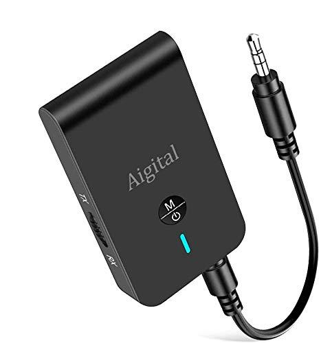 Aigital Adaptateur Bluetooth 5.0,Transmetteur Bluetooth Émetteur et Audio sans Fil Récepteur 3-en-1 Sortie Stéréo 3.5mm Faible Latence, aptX, pour TV/Casque/PC/Portable/Système Stéréo de Voiture