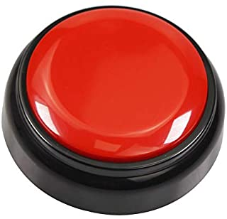 Neutral Sound Button-Voice Recording Button-Recordable Talking Button 30 Second-Answer Buzzers for Funny Novelty Office Desk Gag Gift Custom That was Easy Button (Red - Black)
