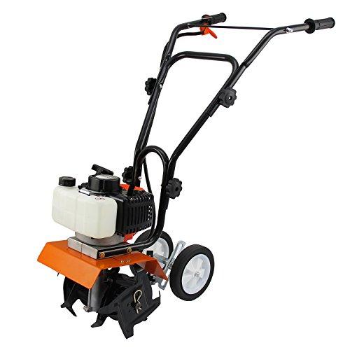 T-Mech 52cc Garden Tiller Petrol Soil Cultivator Rotavator Tool, 3HP 2-Stroke 1.65kW Engine