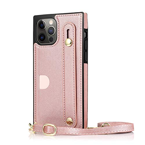 Phone Shell for iPhone 12 Pro max Rose Holder with Hanging Strip Rope Card Slot 6.7inch Retro (ID Card,Credit Card) Reinforced Corners Accurate Cutouts Gift Girls Boys