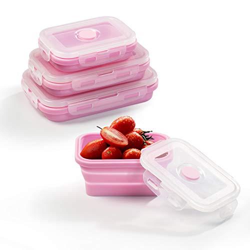Diealles Shine 3 Stück Faltbare Frischhalteboxen, Silikon zusammenklappbaren Container Brotdosen aus Silikon für Mikrowellen, Kühlschränke, Rosa
