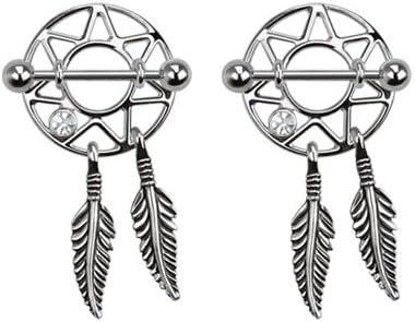 Pair of Nipple Rings Clear cz Dream Catcher Shields Dreamcatcher Body Jewelry Piercing bar Barbell Shield Ring- 14 Gauge 14g