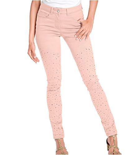 Ashley Brooke Hose Jeans Coole Damen Bauch-Weg-Hose mit Schmucksteinen Denim Freizeit-Hose Rosa, Größe:34