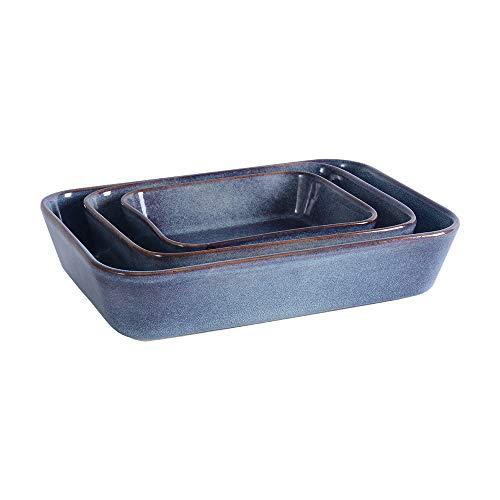 ProCook Auflaufformen - Set - 3-teilig - Steinzeug - Ofenform - Backform - Steingut - reaktive Glasur - blau