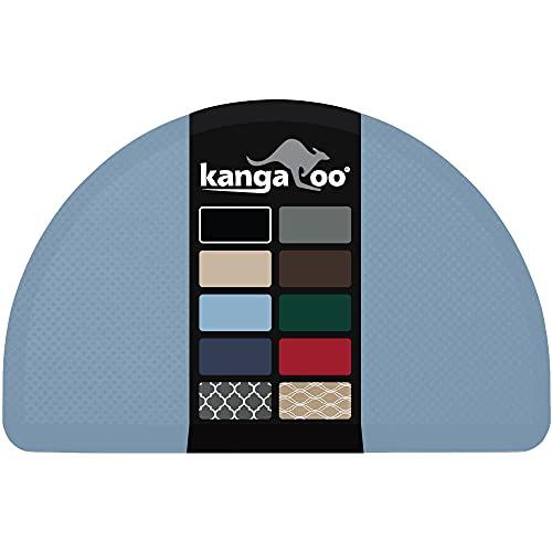 Kangaroo Originele commerciële kwaliteit staande mat halve cirkel keuken tapijt, anti-vermoeidheid comfort vloeren, ftalaat vrij, niet-toxisch, waterdicht, tapijten voor kantoor staan op bureau, halve ronde, hemelsblauw