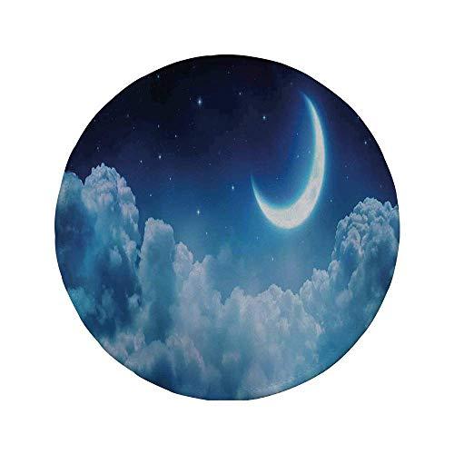 Rutschfreies Gummi-rundes Mauspad Fantasy-Hausdekor romantischer Mond in sternenklarer Nacht über Wolken Mitternachtshimmel Natur-Landschaftsbild Marineweiß 7.9