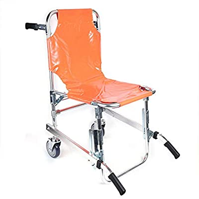 EMS Lift Stair Chair Foldable Medical Stretcher Emergency Light Weight Lift Wheelchair Ambulance Firefighter w/ 3 Adjustable Straps 350lb Capacity Transport Patient Evacuation Care USA Stock (Orange)