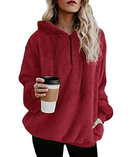 SWAGSTS Dames herfst winter capuchon oversized sherpa trui hoodie fleece mantel lange mouwen sweatshirt pullover met zakken 1/4 rits sweatshirt