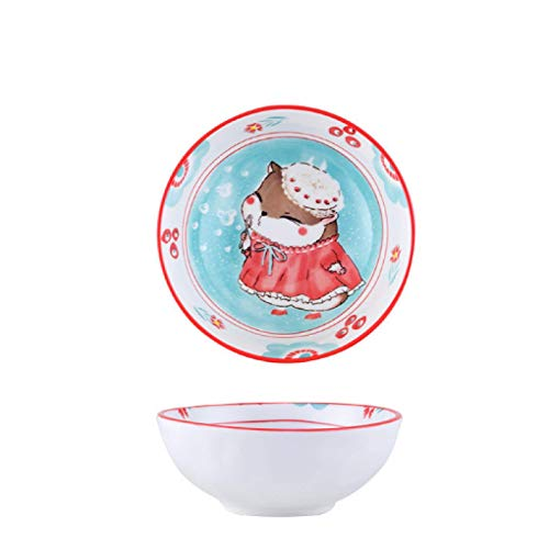 GYCZC Hamster Japanese Bowl Plate Cartoon Rice Bowl Salad Soup Bowl Household Dinner Plate Single Handle Baking Plate Grid Plate Ceramic Tableware