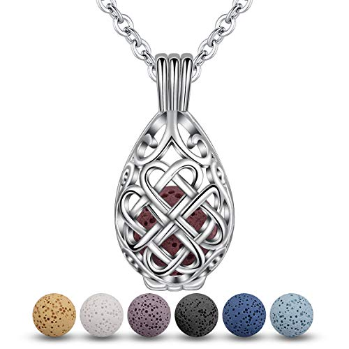 INFUSEU Teardrop Celtic Knot Essential Oil Diffuser Necklace Lava Stone Aroma Therapy Jewelry Set for Women Girl, 7 Pcs Rocks, 24' Chain