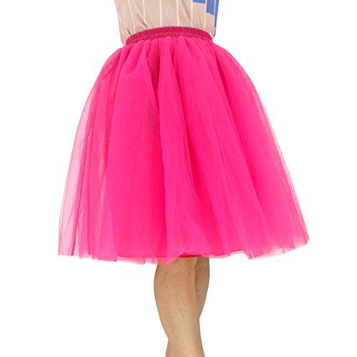 URVIP Damen\'s Tüll Rock 7 Layer Knielanger Prinzessin Falten Rock Tutu Petticoat Ballettrock Unterrock Pettiskirt 5XL Fuchsie