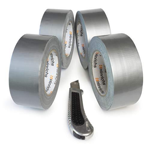 Hinrichs 4 Rotoli Di Nastro Telato Americano Argento - Per uso interno ed esterno - 50 m x 50 mm - Taglierino gratis