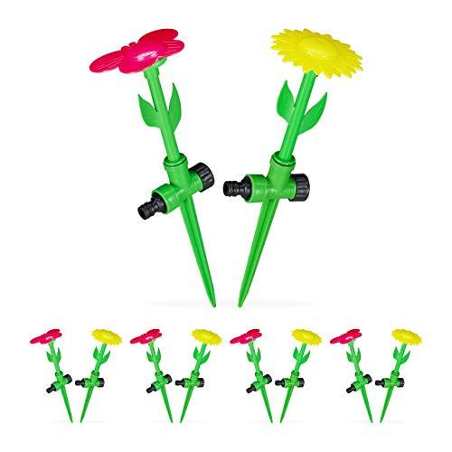 Relaxdays 10 x Sprinkler Blume, Spritzblume Garten, Rasensprenger Kinder, mit Erdspieß, Sprühregner, HxD: 34 x 10 cm, rot/gelb