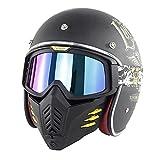 Casco Integrale Caschi da Moto per Adulti con Maschera di Protezione Amovibile Bike Cruiser Scooter Touring Approvato DOT/ECE Donna Uomo Adulti (Color : A)