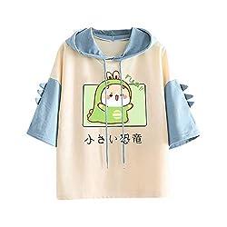 7. SHOPESSA Women's Cute Kawaii Dinosaur Drawstring Hoodie
