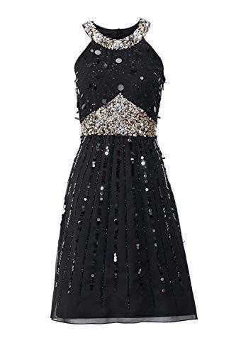 Ashley Brooke Damen Designer-Paillettenkleid, schwarz, Größe:36