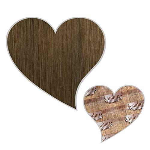 GLOBAL EXTEND® Clip in Extensions nahtlos aschbraun#8B 50cm 190g Volume Seamless Clips aus 100% Echthaar Haarverlängerung nahtlose Haarclips Haarverdichtung Real Human Hair