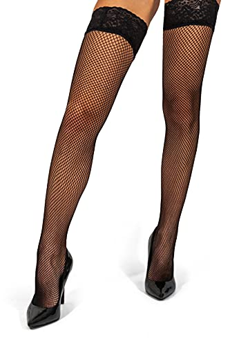 sofsy Fishnet Thigh High Hold Up Stockings Silicone Lace Top Nylon Net Lingerie Hosiery [Made In Italy] Black 3 4 - Medium Large