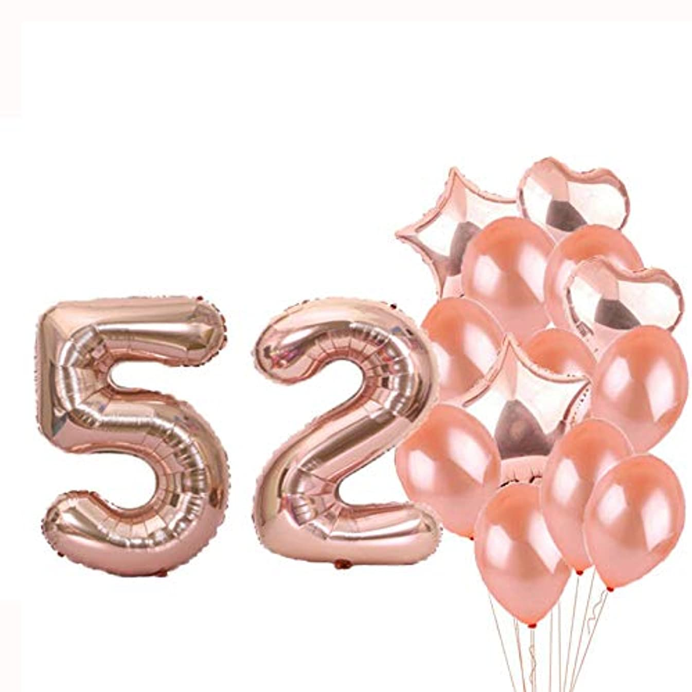 Sweet 52th Birthday Decorations Party Supplies,Rose Gold Number 52 Balloons,52th Foil Mylar Balloons Latex Balloon Decoration,Great 52th Birthday Gifts for Girls,Women,Men,Photo Props