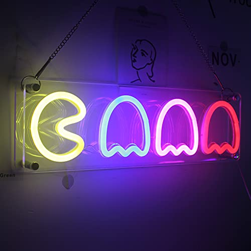 Ghost Neon Signs LED Neon Lights Game for Ps4 Retro Arcade Decor 16''x6'' with USB/Swicth...