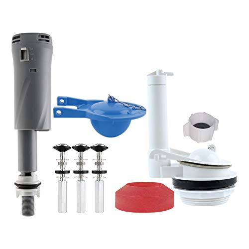 iFealClear Toilet Repair Kits, Complete Toilet Tank Repair Kit Include Adjustable 3 Inch Toilet Flush Valve Repair with Fill Valve, Toilet Tank to Bowl Gaskets &Bolt and Universal Blue Toilet Flapper