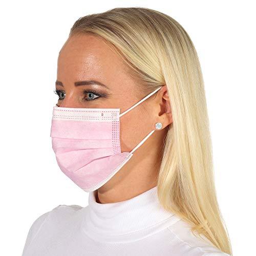 50 Stück Einweg Gesichtsmaske Mund-Nasen-Bedeckung rosa 3-lagiger Mundschutz und elastischer Gummizug