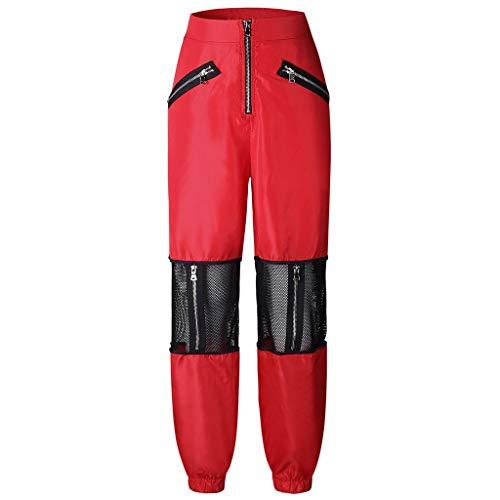 planuuik Vrouwen Mesh Patchwork Hoge Taille Rits Casual Sport Broek Jogger Jeans Broek