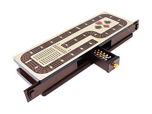 House of Cribbage - Continuous Cribbage Board / Box Inlaid in Maple / Wenge Wood: 4 Track - Cards and Pegs Storage Drawer with Score Marking Fields for Skunks, Corners and Won Games