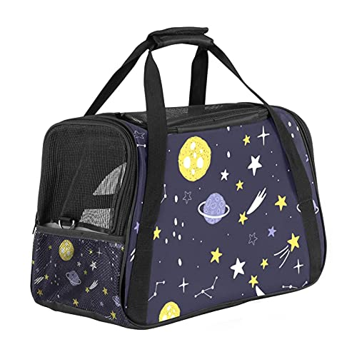 MEITD Cat Carrier Airline-Approved Travel Pet Carrier,Dog Carrier,Suitable for Small and Medium-Sized Cats and Dogs Cartoon planets stars and comets