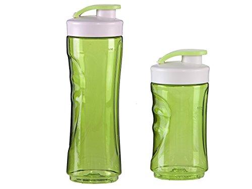 DOMO 2er-Set Ersatzflaschen für Smoothie-Maker DO436BL, 300 und 600ml, grün; DO436BL-BG-BK