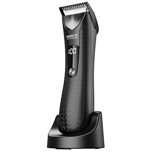 MANGIFTS Pubic Hair Trimmer for Men,Updated Professional Groin Body Trimmer with LED Display,Replaceable Ceramic Blade Heads,Showerproof Wet Dry Clippers,Charging Dock,Ultimate Male Hygiene Razor